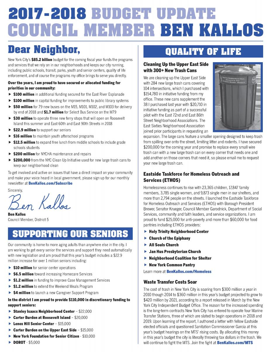 Newsletters Ben Kallos New York City Council Member