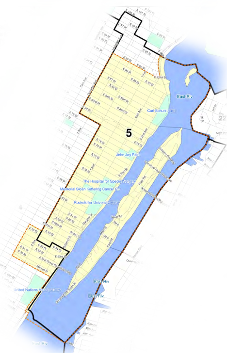 Map of New York City Council District 5