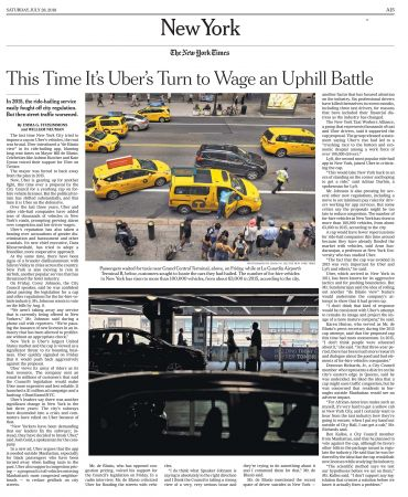 New York Times This Time It's Uber on the Defensive in Battle With New York