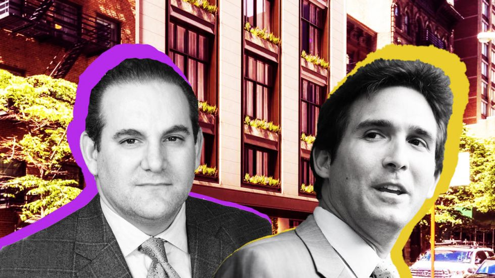 onathan Kalikow and Ben Kallos with a rendering of 3 Sutton Place (Credit: CityRealty and Getty Images)