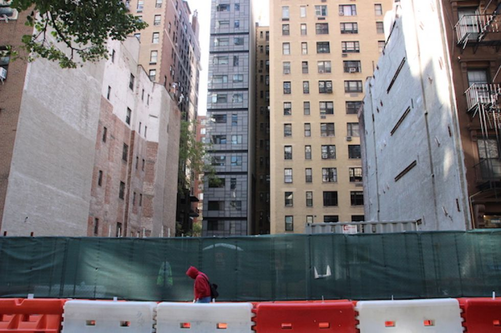 The foundation for the 800-foot tower that Gamma Real Estate plans to build at 430 E. 58th St. | Photo by Sydney Pereira