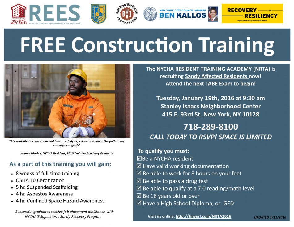 Free Construction Training for NYCHA Residents | Ben Kallos, New ...